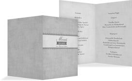 Menükarte Vintage Spitzenbordüre - Grau (K38)