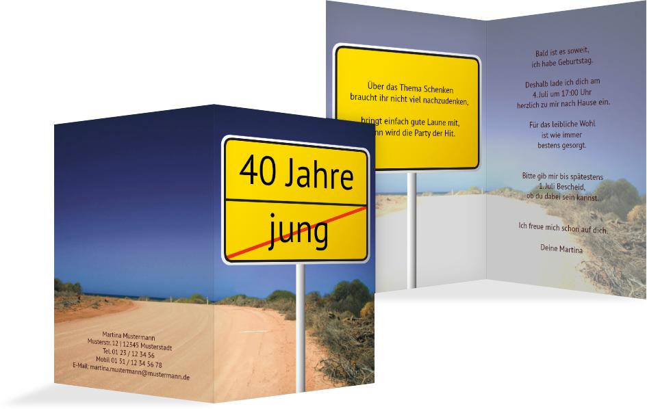Einladung zum Geburtstag Straßenschild 40   Kartenmanufaktur