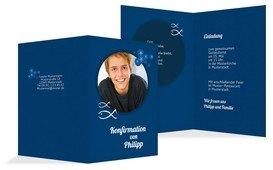 Einladungskarte Konfirmation Star - Blau (K20)