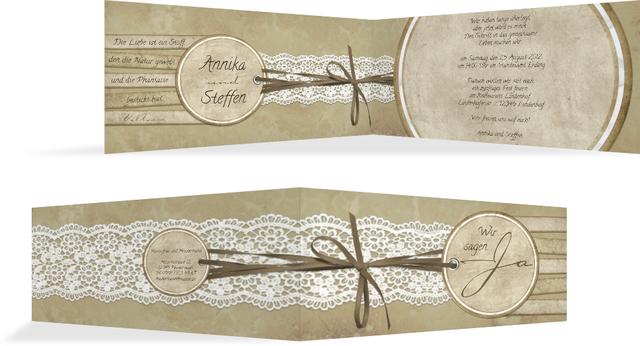 Hochzeitskarte Einladung Vintage Lace - Braun (K33)