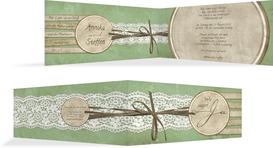 Hochzeitskarte Einladung Vintage Lace - Grün (K33)