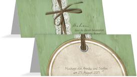 Tischkarte Vintage Lace - Grün (K32)