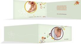 Geburtskarte Blumenornament - Grün (K33)
