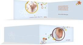 Geburtskarte Blumenornament - Hellblau (K33)