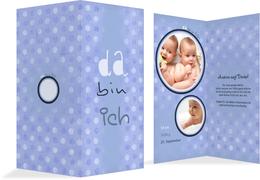 Baby Dankeskarte da bin ich - Blau (K35)