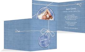 Baby Dankeskarte Faden - Blau (K24)