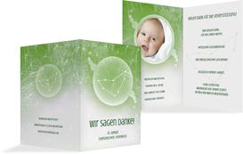 Dankeskarte zur Geburt Sternzeichen Steinbock - Grün (K20)