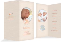 Geburtskarte Danke Schaf - Orange (K35)