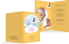 Karte zur Geburt Storch Mädchen - Gelb (K20)