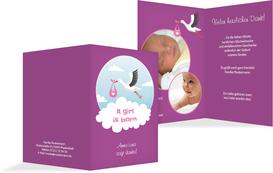Dankeskarte zur Geburt Storch Mädchen - Lila (K20)