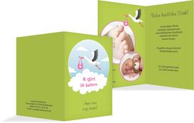 Dankeskarte zur Geburt Storch Mädchen - Grün (K20)