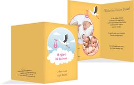 Dankeskarte zur Geburt Storch Mädchen - Gelb (K20)