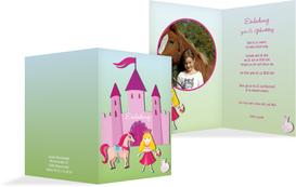 Einladung zum Kindergeburtstag Märchenprinzessin Foto - Pink (K20)