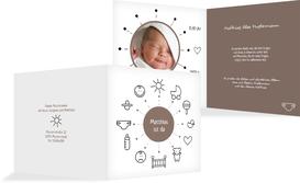 Grußkarte Geburt babytime - Braun (K24)