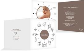 Dankeskarte Geburt babytime - Braun (K24)