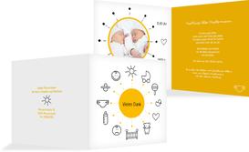 Dankeskarte Geburt babytime - Gelb (K24)