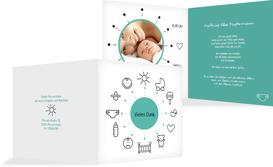 Dankeskarte Geburt babytime - Türkis (K24)