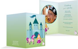 Einladung zum Kindergeburtstag Märchenprinzessin Foto - Türkis (K20)