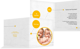Dankeskarte Geburt way of life - Gelb (K24)