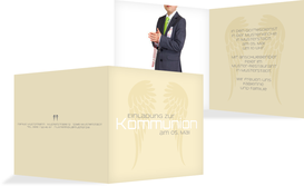 Kommunionseinladung Schutzengel - Champagne (K24)