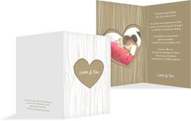Hochzeits Einladungskarte heart bark - Braun (K20)