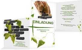 Einladungskarte Kommunion Efeu - Weiß (K24)