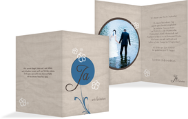 Hochzeitskarte Einladung Fantasyflower - Blau (K20)