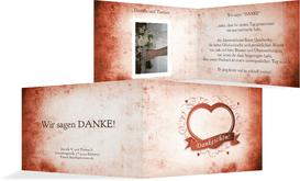 Dankeskarte zur Hochzeit Herz - Rot (K19)