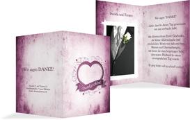 Dankeskarte zur Hochzeit Herz - Lila (K20)