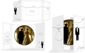 Dankeskarte dress and suit - Weiß (K40)