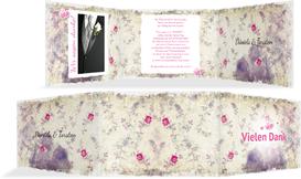 Dankeskarte DIN romantische Liebe - Pink (K21)
