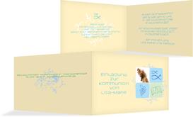 Einladungskarte Kommunion Fisch - Hellblau (K19)