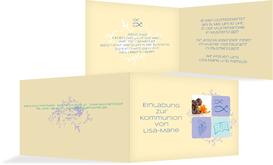 Einladungskarte Kommunion Fisch - Lila (K19)