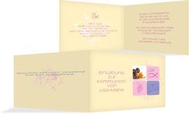 Einladungskarte Kommunion Fisch - Rosa (K19)