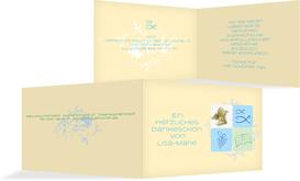 Dankeskarte Kommunion Fisch - Hellblau (K19)