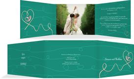 Dankeskarte zur Hochzeit erfüllte Liebe - Türkis (K21)