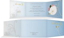 Einladung Eheringe Perlen - Blau (K21)