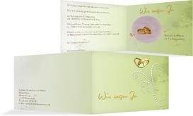 Einladung Eheringe Perlen - Grün (K19)