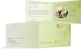 Dankeskarte Eheringe Perlen - Grün (K19)