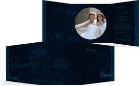 Dankeskarte zur Hochzeit Liebespaerchen - Dunkelblau (K23)