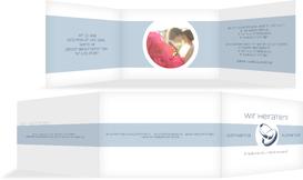 Hochzeitskarte Einladung Ringeband - Hellblau (K21)