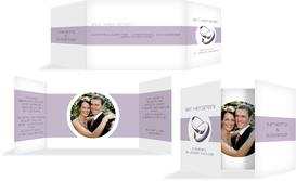 Hochzeitskarte Einladung Ringeband - Lila (K39)