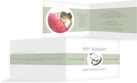 Hochzeitskarte Danke Ringeband - Grün (K19)