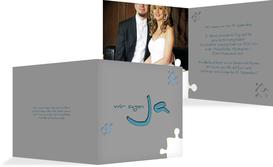 Einladung zur Hochzeit Puzzle - Blau (K24)