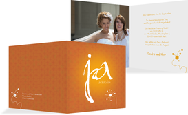 Einladungskarte abstrakte Blumen - Gelb (K24)