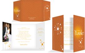 Dankeskarte abstrakte Blumen - Gelb (K40)