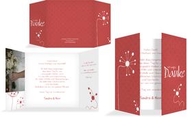 Dankeskarte abstrakte Blumen - Rot (K40)