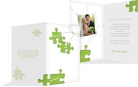 Einladungskarte Puzzleteile - Grün (K20)