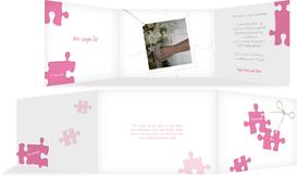 Einladungskarte Puzzleteile - Pink (K21)