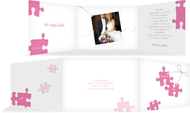 Dankeskarte Puzzleteile - Pink (K21)